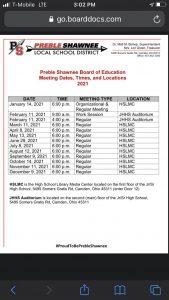 PS School Board Meeting @ PS High School HSLMC Rm (Library Media Center)