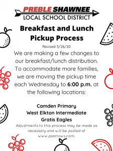 Preble Shawnee Student Breakfast/lunch Pick ups @ Camden Primary School (& 2 other locationsbelow)