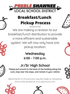 PS Student Breakfast/lunch Pick ups @ Preble Shawnee Jr/Sr High School