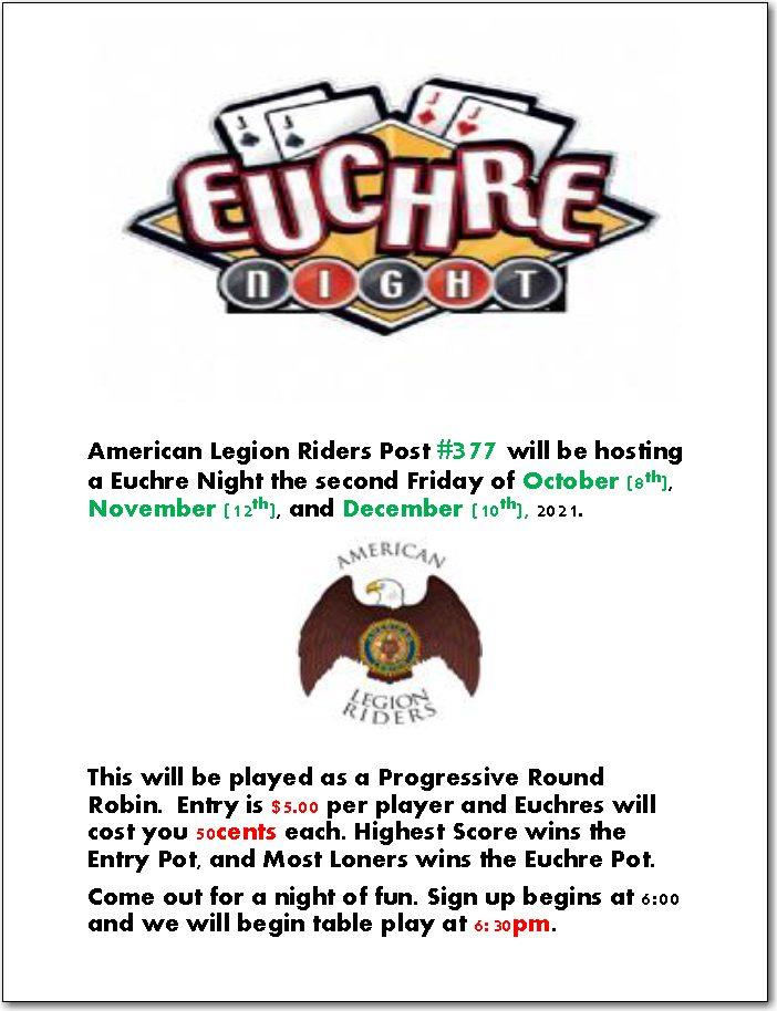 Euchre Night! @ American Legion Riders Post #377